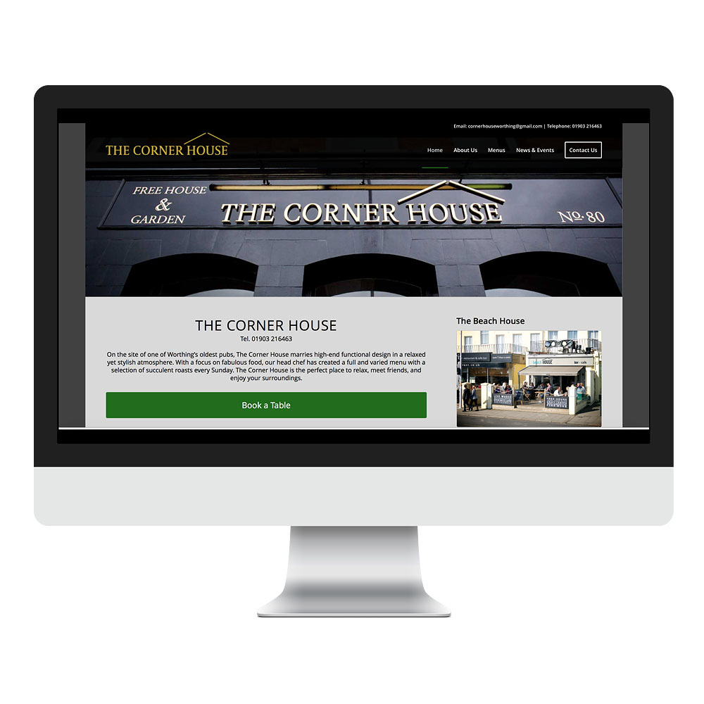Web Design Sussex for Corner House Worthing